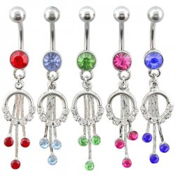 Half Jeweled Circle With Jeweled Drops Navel Rings <B>($0.99 Each)</b>