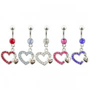 Double Heart Dangles Navel Rings <B>($0.99 Each)</b>