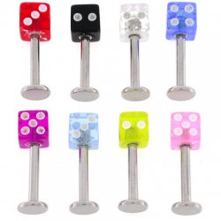 Labrets with UV Acrylic Dice <B>($0.15 Each)</B>