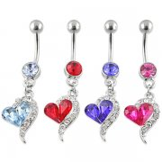 Gem Filled Tailing Heart Navel Ring <B>($0.99 Each)</B>
