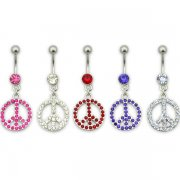 Gem Filled PEACE Navel Ring <b>($1.23 Each)</b>