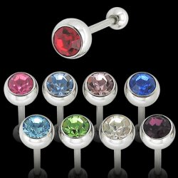 Surgical Steel Single Jewel Tongue Barbell <B>($0.55 Each)</b>