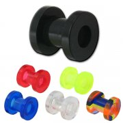 6 UV Reactive Colors Ear Flesh Tunnel Screw Fit <B>($0.55 Each)</B>