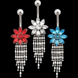 Gem Filled Flower Dangling Drops belly <B>($0.82 Each)</b>
