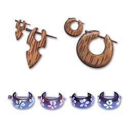 Coconut & Wood Trendy Earrings New Collection <b>($0.70 Each)</b>