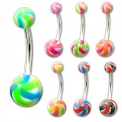 UV Reactive NEW Twister Navel Rings <B>($0.28 Each)</B>