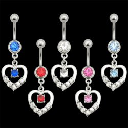 Open Heart w/ Center Gem Navel Ring <B>($0.99 Each)</b>