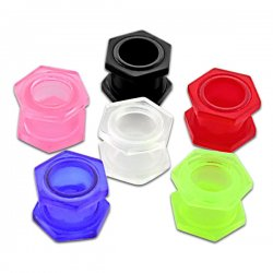 5 Sizes NEW UV Reactive Ear Flesh Tunnels w/ Hexagon <B>($0.82 Each)</b>