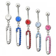 Gem Filled Safety Pin Navel Ring <B>($0.99 Each)</b>