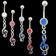 Gem Filled Music Note Navel Ring <B>($0.99 Each)</b>
