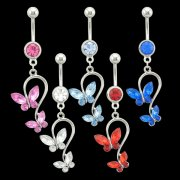 Twin Butterflies Navel Ring <B>($0.66 Each)</b>