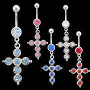 Jeweled Cross Navel Ring <B>($0.99 Each)</b>