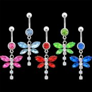 2 Tone DragonFly Navel Rings <b>($0.99 Each)</b>