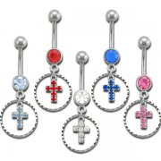 Diamond Cut Ring with Jeweled Cross Navel Rings <B>($0.99 Each)</b>