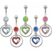 Diamond Cut Circle with Jeweled Heart Navel Rings <B>($0.99 Each)</b>