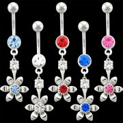 Tiffanys Single-Jewel Flower Navel Rings <B>($0.99 Each)</b>