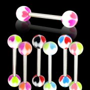 UV Reactive NEW Hearts Tongue Rings <B>($0.33 Each)</B>