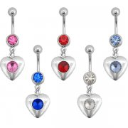 5 Colors Shiny Hearts Navel Rings <B>($0.70 Each)</b>