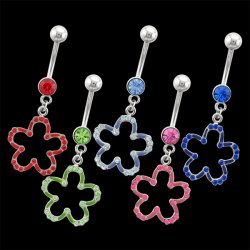 Jeweled Colored Flower Navel Rings <B>($1.41 Each)</b>