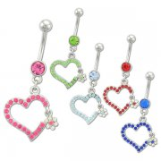 Broken Heart w/ Flower Navel Rings <B>($1.65 Each)</b>