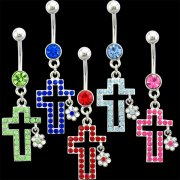 Multi-Jeweled Cross w/ Flower Navel Rings <B>($1.65 Each)</b>