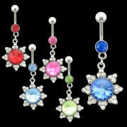 2 Tone Gem Filled Flower Navel Rings <B>($1.65 Each)</b>