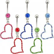 Jeweled Colored Heart Navel Rings <B>($1.65 Each)</b>