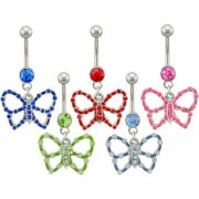 Jeweled Colored Butterfly Navel Rings <B>($1.65 Each)</b>