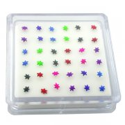 Anodized Sterling Silver Marijuana Leaf Nose Studs w/ Display <b>($0.17 Each)</b>