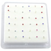 Sterling Silver Gems Bonding Nose Studs w/ Display <b>($0.17 Each)</b>