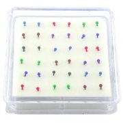 Anodized Sterling Silver Ball Nose Studs w/ Display <b>($0.17 Each)</b>