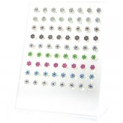 925 Sterling Silver CZ Flower Ear Studs w/ Display <b>($0.77/PAIR)</b>