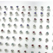 925 Sterling Silver Single Gem Hearts Ear Studs w/ Display <b>($0.41/PAIR)</b>