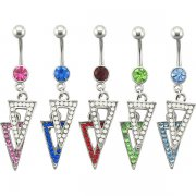 2 Tone Jeweled Triangles Navel Rings <B>($1.41 Each)</b>