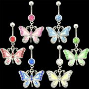 Multi Jeweled Painted Butterfly Navel Rings <B>($1.17 Each)</b>