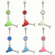 Cocktail Glass Navel Rings <B>($0.82 Each)</b>