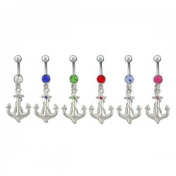 Single Jewel Anchor Navel Rings <B>($0.82 Each)</b>