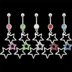 3 Attached Stars Navel Rings <B>($0.99 Each)</b>