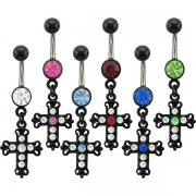 Blackline 2 Tone Cross Navel Rings <B>($0.82 Each)</b>