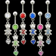 Teddy Bear with Heart Dangle Navel Rings <B>($0.99 Each)</b>