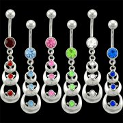 3 Step Crescent Dangle Navel Rings <B>($0.99 Each)</b>