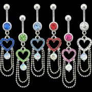 Chandelier Heart Navel Rings <B>($0.99 Each)</b>