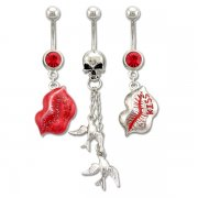 Kisses and Skulls Navel Rings <B>($0.66 Each)</b>