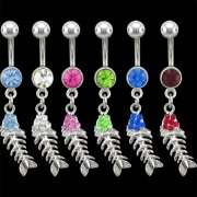 Jeweled Fish Skeleton Navel Rings <B>($0.82 Each)</b>