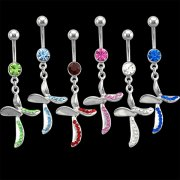 Jeweled Curved Cross Navel Rings <B>($0.82 Each)</b>