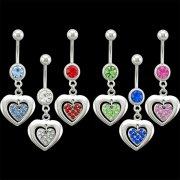 Multi Jeweled Heart in Open Heart Navel Rings <B>($0.82 Each)</b>