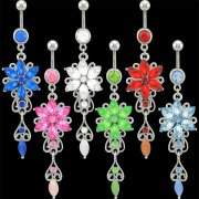 Jeweled Victorian Flower Navel Rings <B>($0.99 Each)</b>