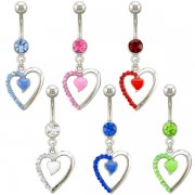 Jeweled Open Heart With Enamel Heart Navel Rings <B>($0.82 Each)</b>
