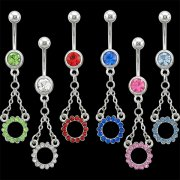 Hanged Jeweled Ring Navel Rings <B>($0.82 Each)</b>