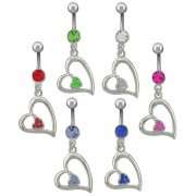 Open Heart with Jeweled Inner-Heart Navel Rings <B>($0.99 Each)</b>